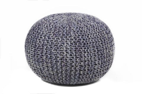 Hand-Knitted Contemporary Cotton Pouf, Blue design by Chandra Rugs