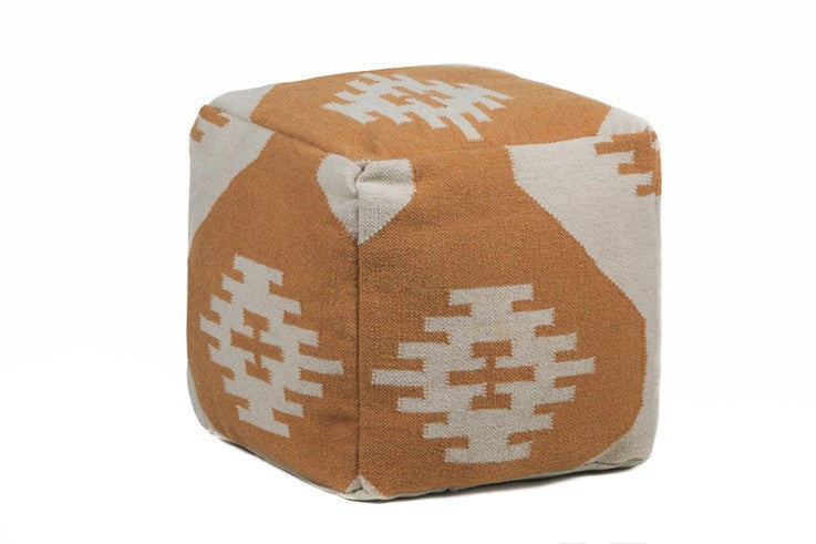 Hand-knitted Contemporary Wool Pouf, Orange design by Chandra Rugs