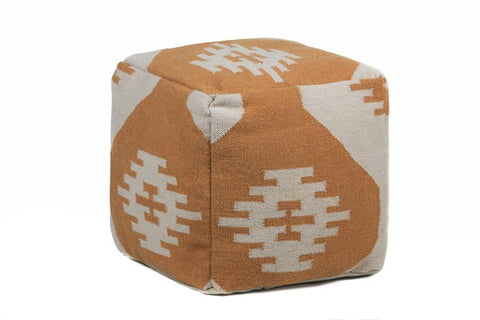 Hand-knitted Contemporary Wool Pouf, Orange