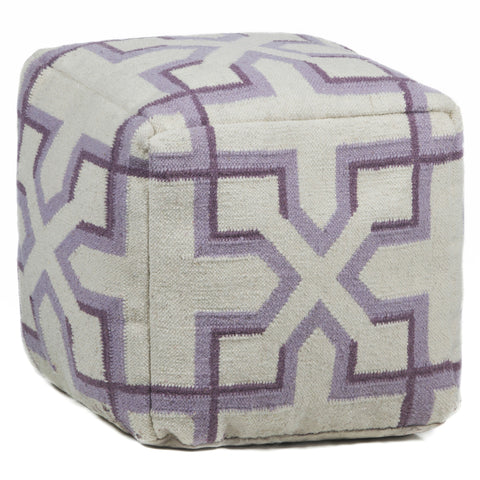 Hand-Knitted Pouf in Cream & Purple design by Chandra rugs