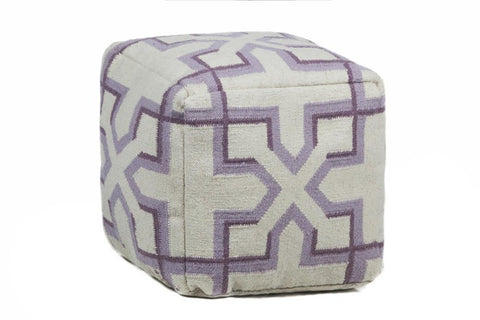 Hand-knitted Contemporary Wool Pouf, Purple