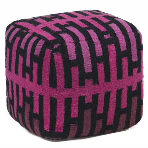 Hand-Knitted Pouf in Pink & Black design by Chandra rugs