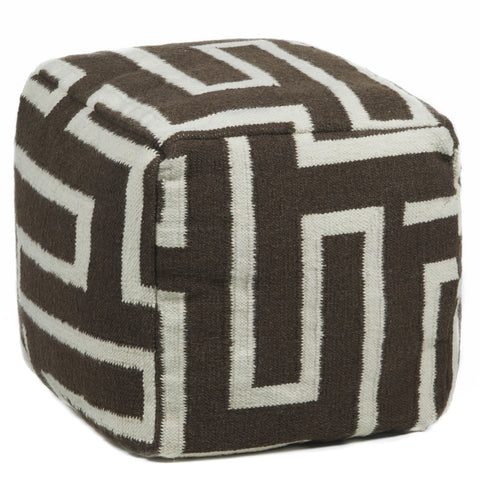 Hand-Knitted Pouf in Brown & Cream design by Chandra rugs