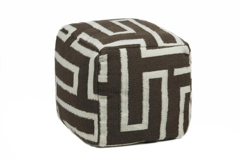 Hand-knitted Contemporary Wool Pouf, Brown