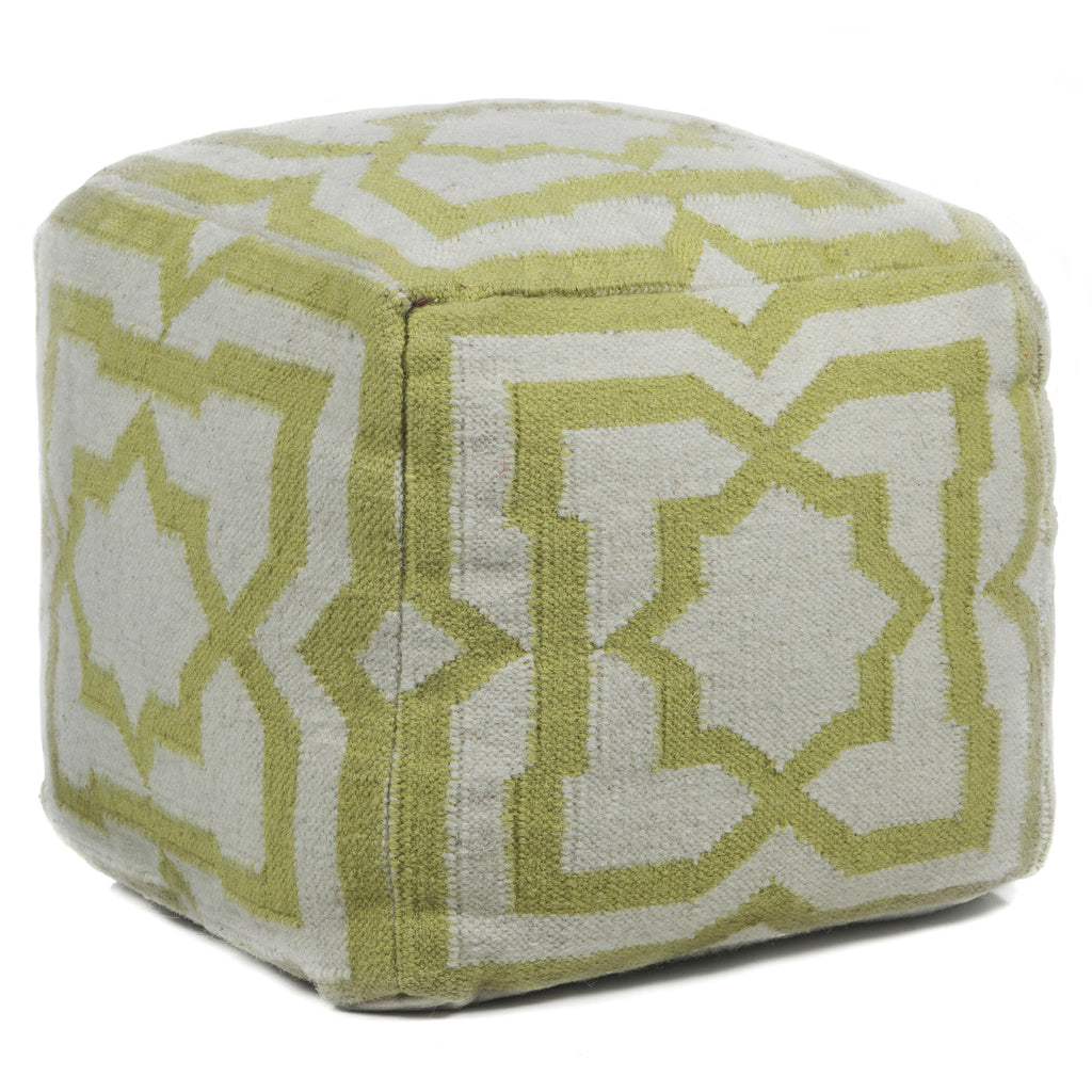 Hand-Knitted Pouf in Cream & Green design by Chandra rugs