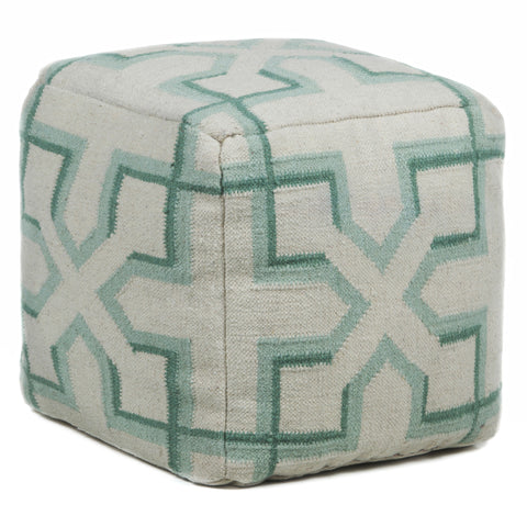 Hand-Knitted Pouf in Cream, Aqua, & Green design by Chandra rugs