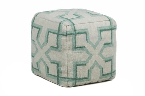 Hand-knitted Contemporary Wool Pouf, Green