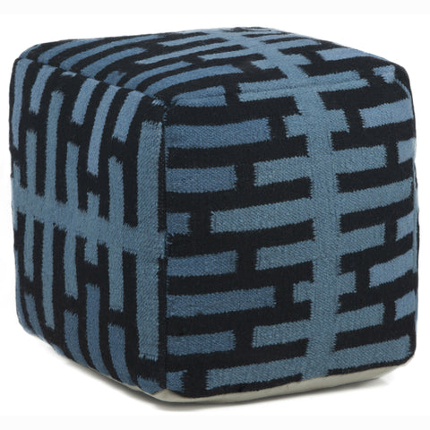 Hand-Knitted Pouf in Blue & Black design by Chandra rugs