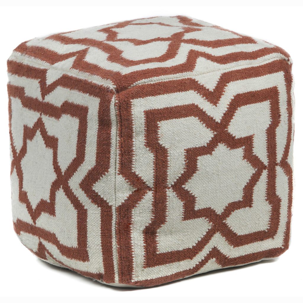 Hand-Knitted Pouf in Cream & Rust design by Chandra rugs