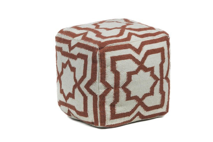 Hand-knitted Contemporary Wool Pouf, Red