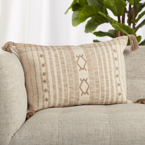 Razili Tribal Pillow in Taupe & Cream