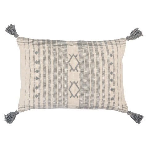 Razili Tribal Pillow in Slate & Cream