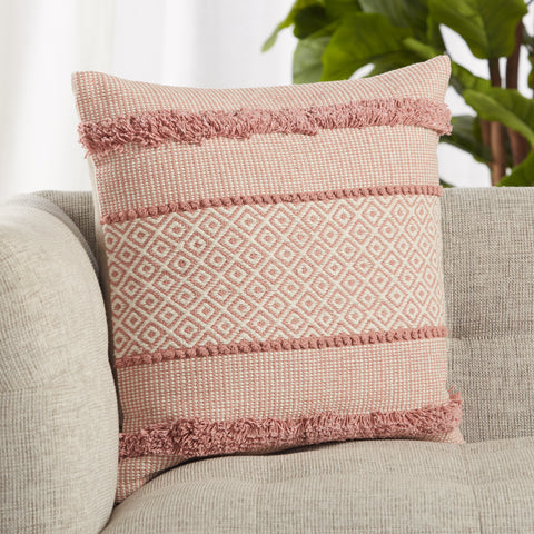 Imena Trellis Pillow in Pink & Cream