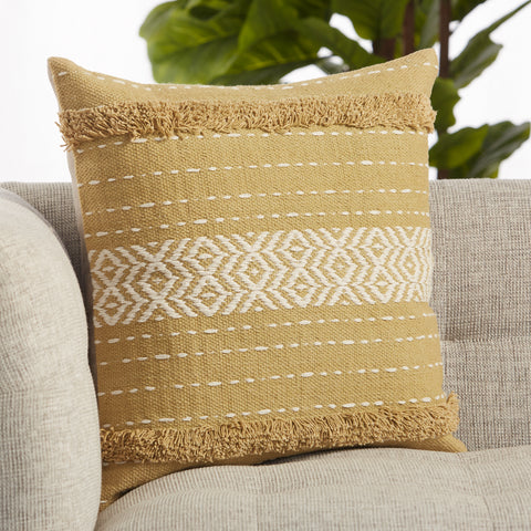 Palmyra Tribal Pillow in Green & White