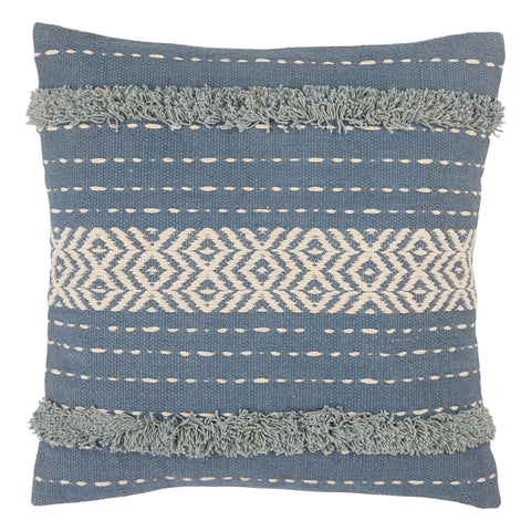 Palmyra Tribal Pillow in Blue & White