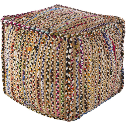 Perth PRPF-002 Hand Woven Pouf in Multi-Color by Surya