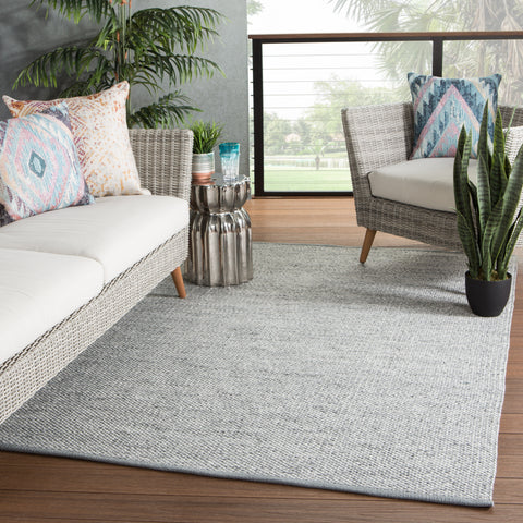 Lamanda Indoor/ Outdoor Solid Gray/ Ivory Rug by Jaipur Living