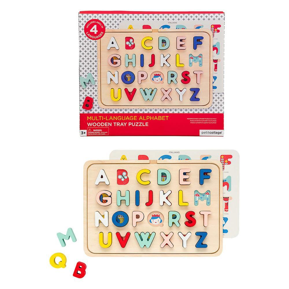Multi-Language Alphabet Wooden Tray Puzzle by Petit Collage