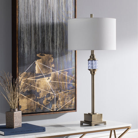 Prestwood PTW-002 Table Lamp in Brushed Brass & White by Surya