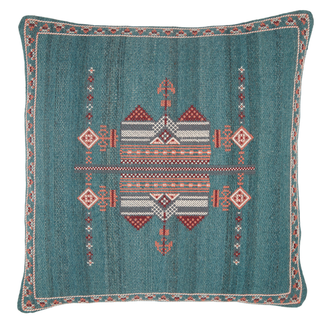 Zaida Tribal Pillow in Teal & Terracotta by Jaipur Living