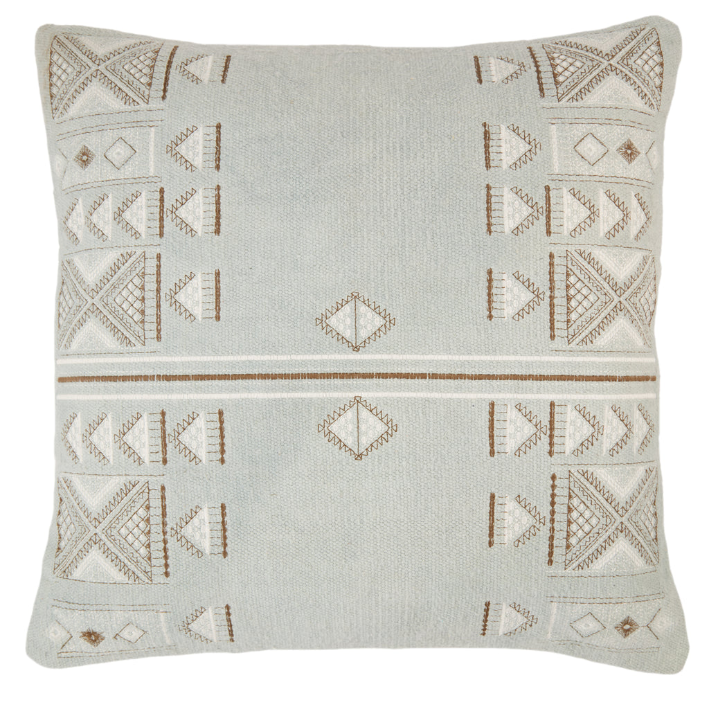 Elina Tribal Pillow in Light Blue & Brown by Jaipur Living