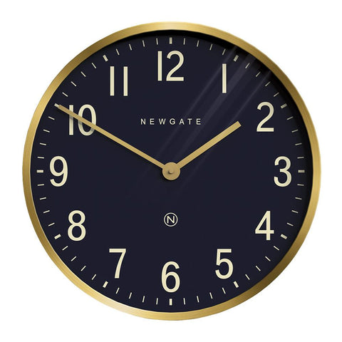 Mr. Edwards Wall Clock in Radial Brass with Navy Face