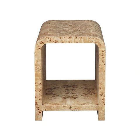 Putnam Waterfall Edge Two Tier Side Table in Burl Wood