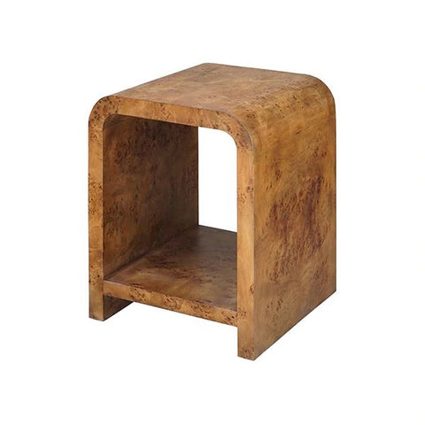 Putnam Waterfall Edge Two Tier Side Table in Dark Burl Wood