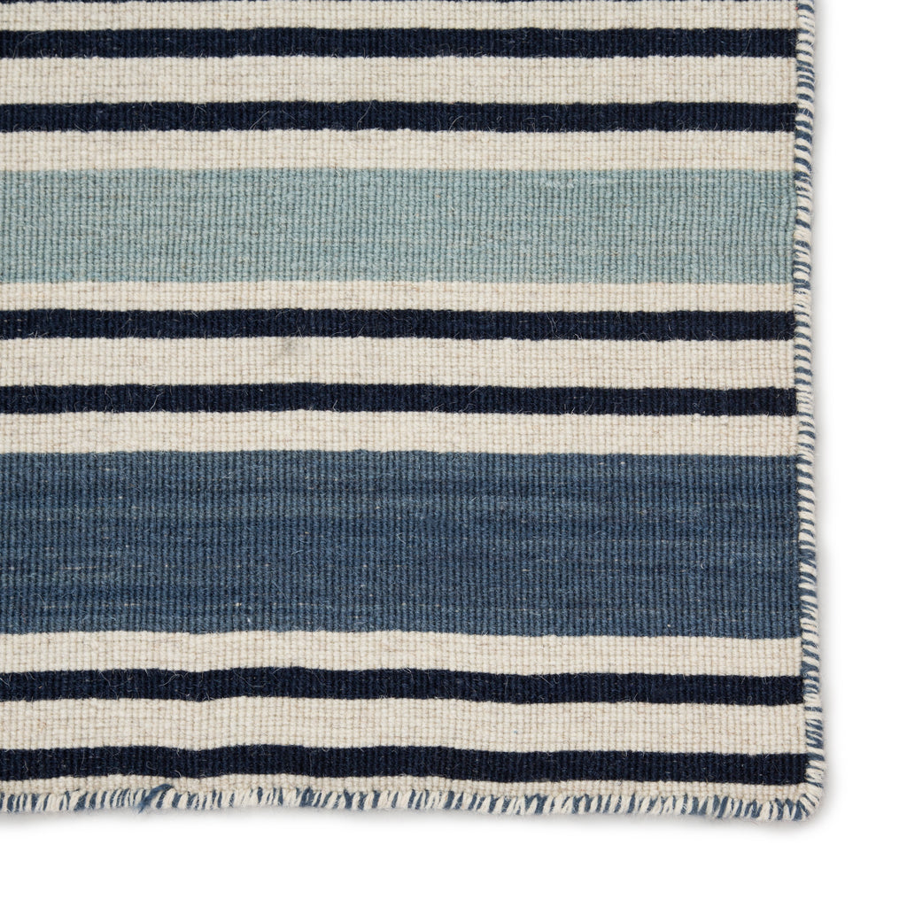 Salada Handmade Stripe Blue & White Area Rug