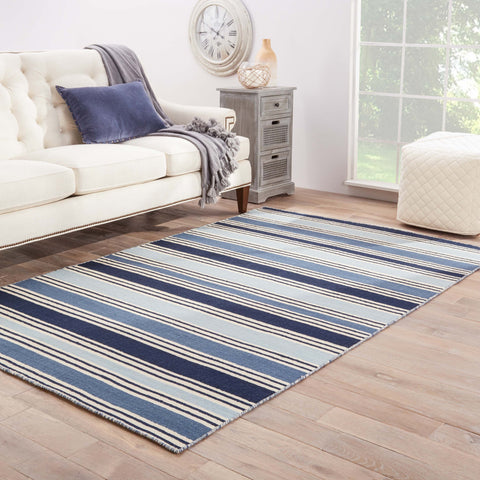 Salada Stripe Rug in White Asparagus & Winter Sky design by Jaipur