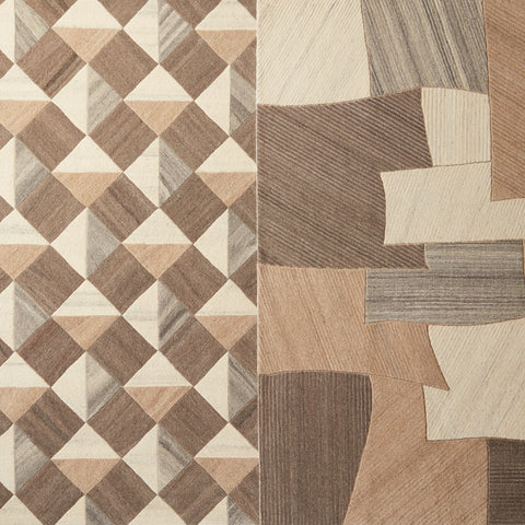 Paris Handmade Geometric Brown & Cream Rug