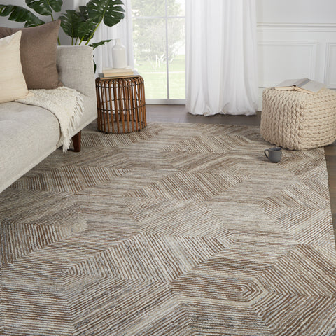 Rome Handmade Geometric Brown & Light Gray Rug