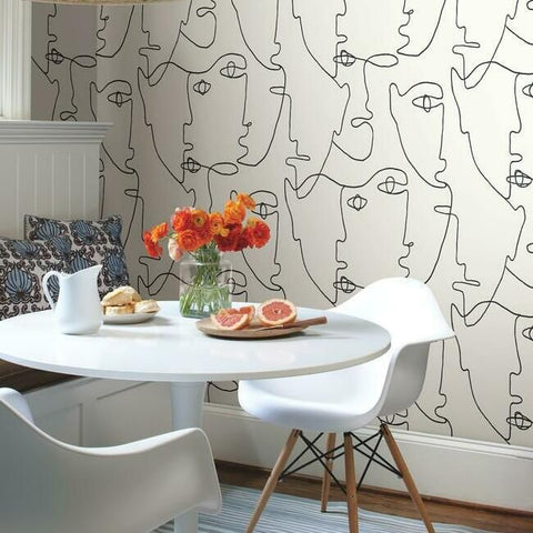 Pablo Portraits Peel & Stick Wallpaper in Black and White by York Wallcoverings