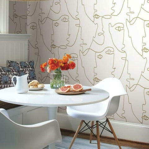 Pablo Portraits Peel & Stick Wallpaper in Gold by York Wallcoverings