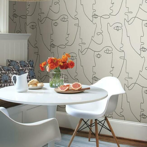 Pablo Portraits Peel & Stick Wallpaper in Linen and Charcoal by York Wallcoverings