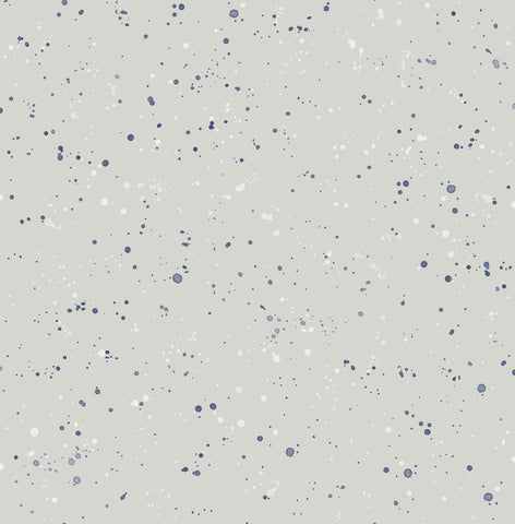 Paint Splatter Wallpaper in Grey and Midnight Blue from the Day Dreamers Collection by Seabrook Wallcoverings