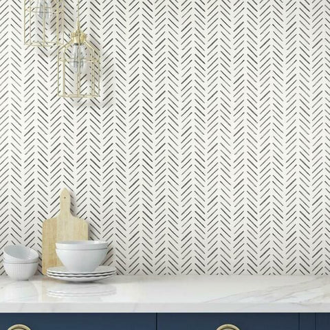 Painted Herringbone Wallpaper in Black from the Water's Edge Collection by York Wallcoverings