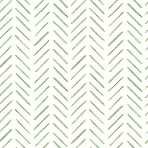 Painted Herringbone Wallpaper in Fern from the Water's Edge Collection by York Wallcoverings