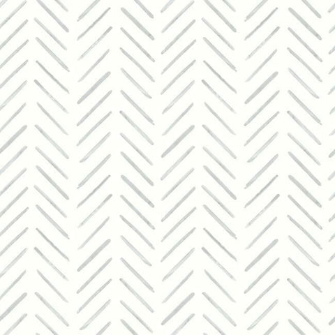 Painted Herringbone Wallpaper in Fog from the Water's Edge Collection by York Wallcoverings