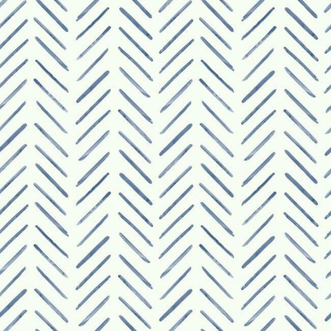 Painted Herringbone Wallpaper in Navy from the Water's Edge Collection by York Wallcoverings