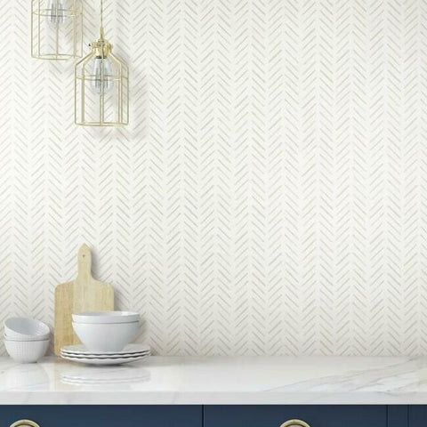 Painted Herringbone Wallpaper in Sand from the Water's Edge Collection by York Wallcoverings