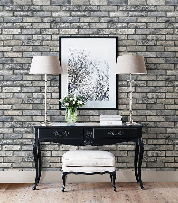 Painted Grey Brick Wallpaper From The Essentials Collection By