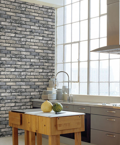 Painted Grey Brick Wallpaper from the Essentials Collection by Brewster Home Fashions