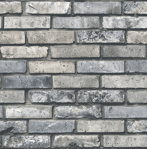 Sample Painted Grey Brick Wallpaper from the Essentials Collection by Brewster Home Fashions