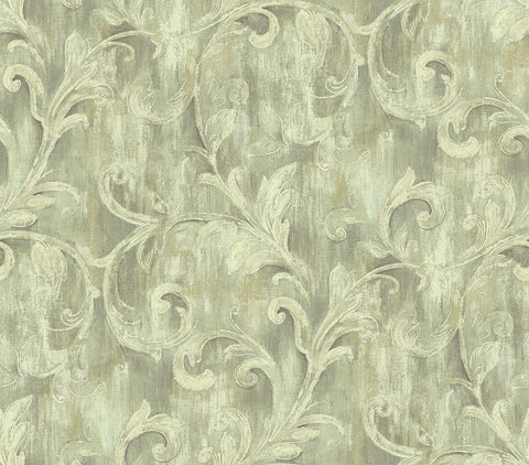 Painterly Acanthus Wallpaper in Antique Linen from the Nouveau Collection by Wallquest