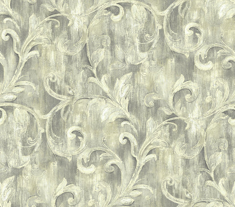 Painterly Acanthus Wallpaper in Antique Luster from the Nouveau Collection by Wallquest