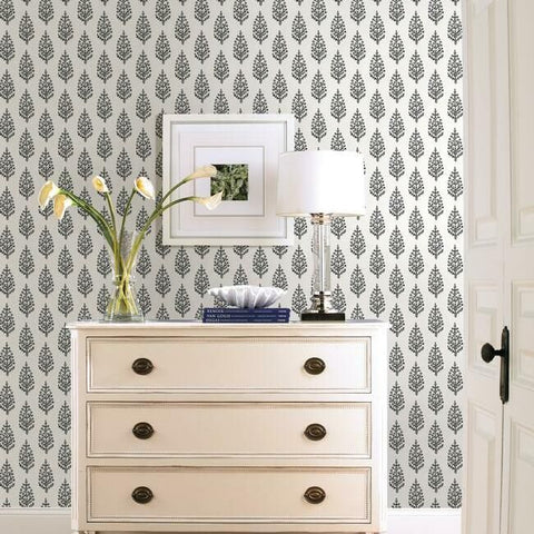 Paisley On Calico Wallpaper in Black and White from the Simply Farmhouse Collection by York Wallcoverings