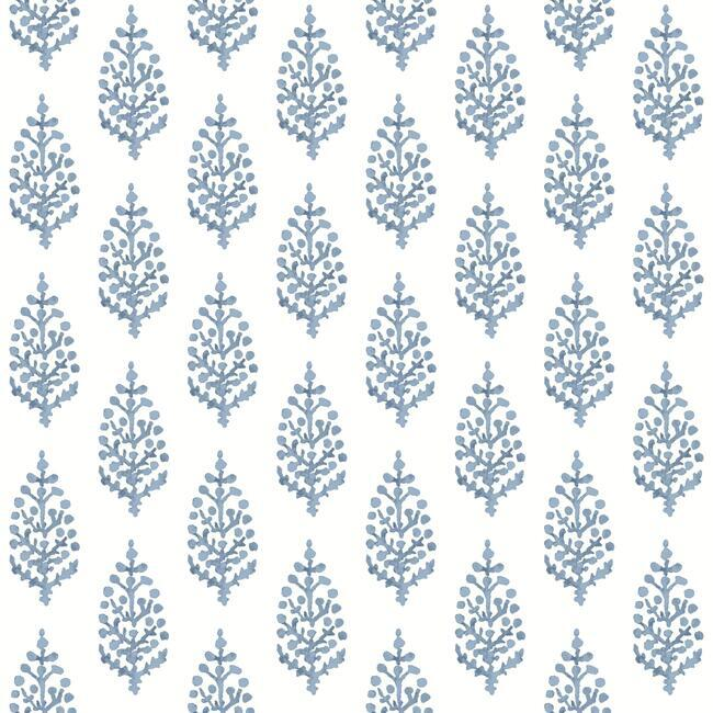Sample Paisley On Calico Wallpaper in Blue from the Simply Farmhouse Collection by York Wallcoverings