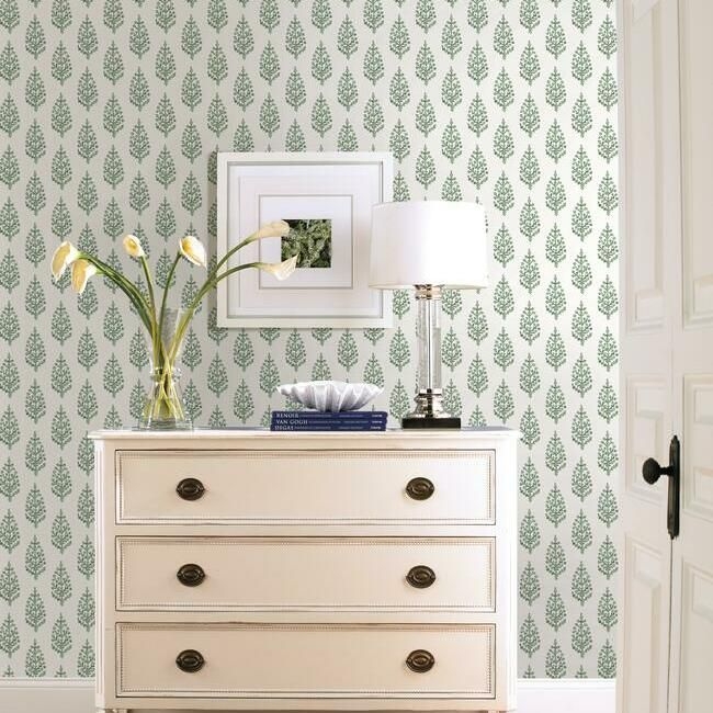 Paisley On Calico Wallpaper in Green from the Simply Farmhouse Collection by York Wallcoverings