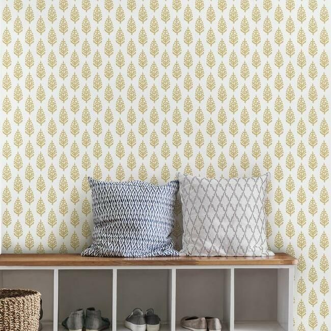 Paisley On Calico Wallpaper in Yellow from the Simply Farmhouse Collection by York Wallcoverings